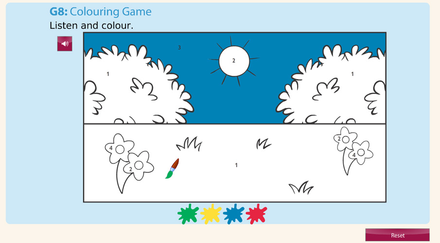 Screenshot of colouring game digital activity