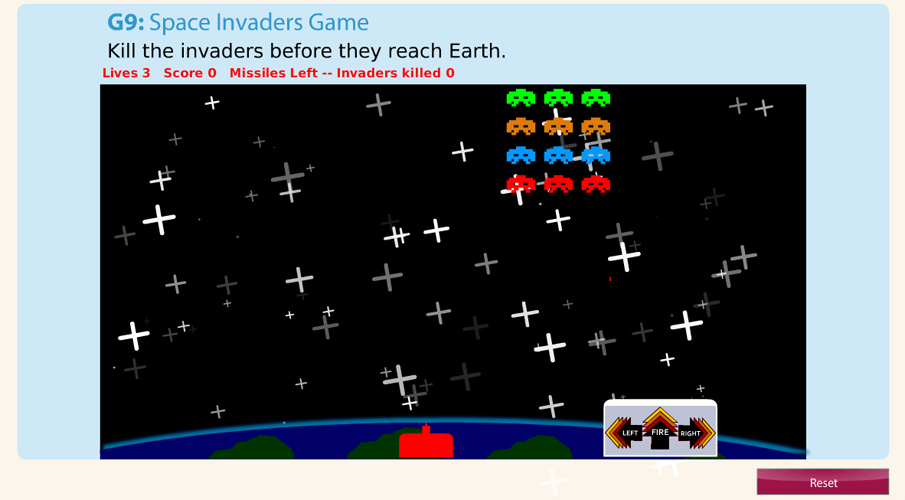 Screenshot of space invaders digital activity